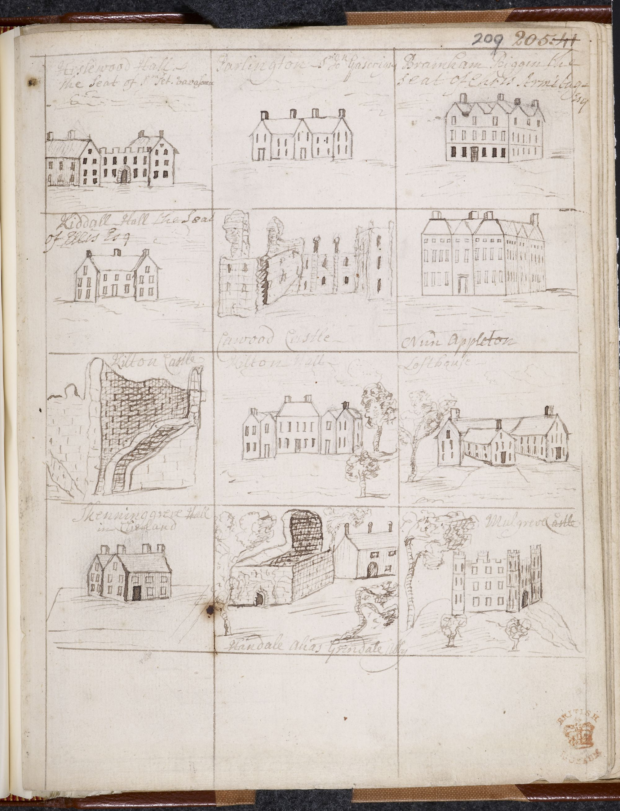 Samuel Buck (1696-1779), Drawings from the Yorkshire Sketchbook in Another volume of Mr. Warburton's collections for Yorkshire, containing a great many views of towns, ruins, gentlemen's seats, &c. chiefly pen and ink sketches, several of which are very neatly executed, 1719-20, pen and brown ink, Lansdowne MS 914, f.209