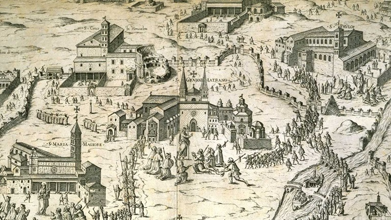 A map with illustrations of buildings including a church and houses