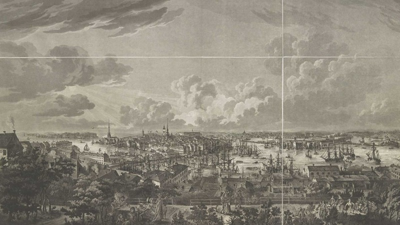 Johan Fredrik Martin (1755-1816) after Elias Martin (1739-1818), Stockholm sedt från Mose-Backe på Södermalm, 1805, etching and aquatint, 465 x 720 mm, Maps 35690.(15.).