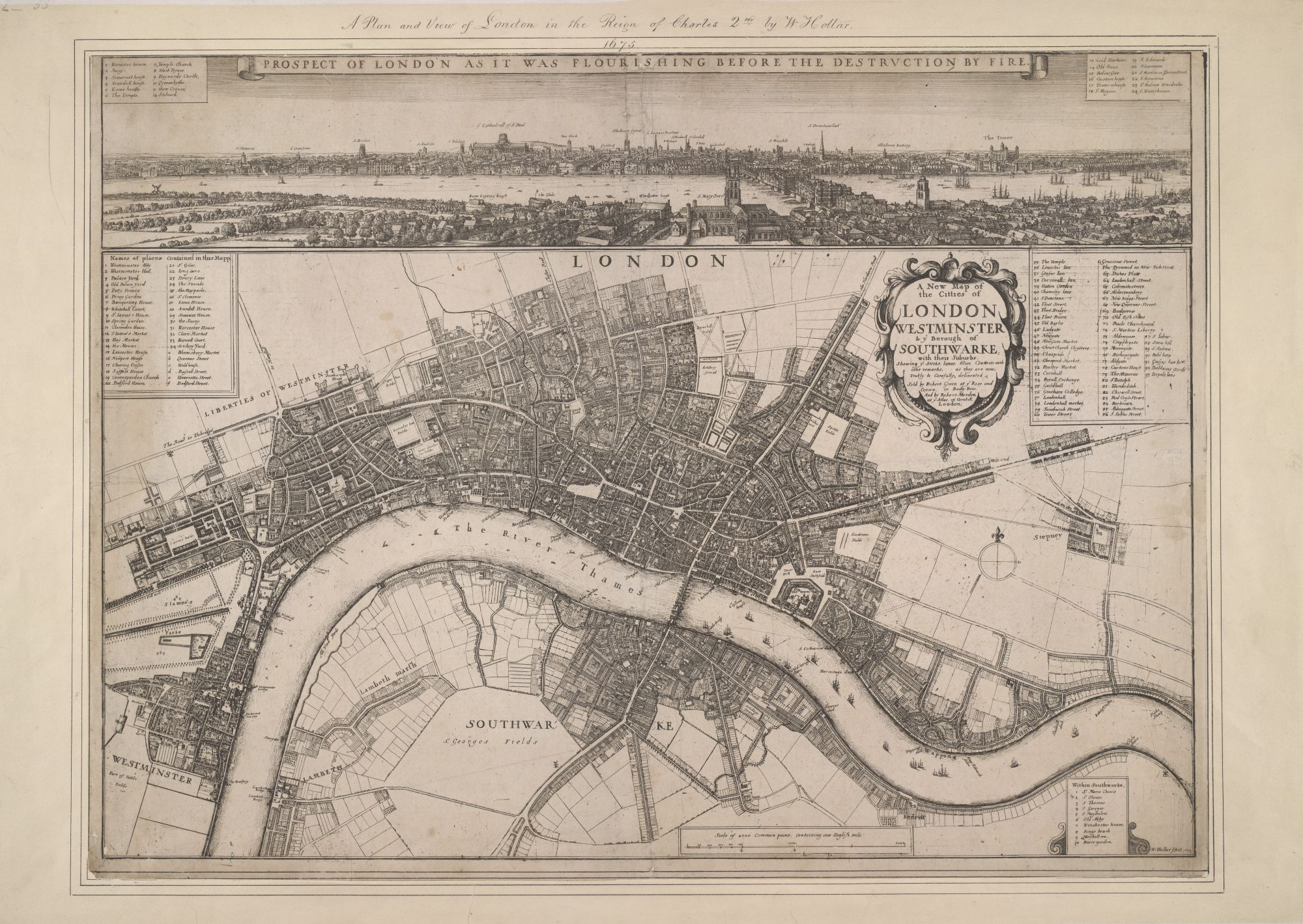 Wenceslaus Hollar's 1675 map of the city of London, Westminster and Southwark after the Great Fire