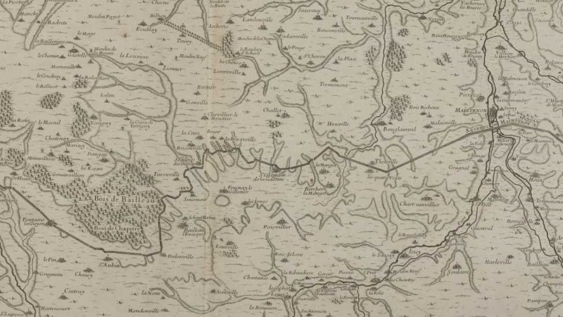 Map of the Eure River from Pontgouin to Versailles