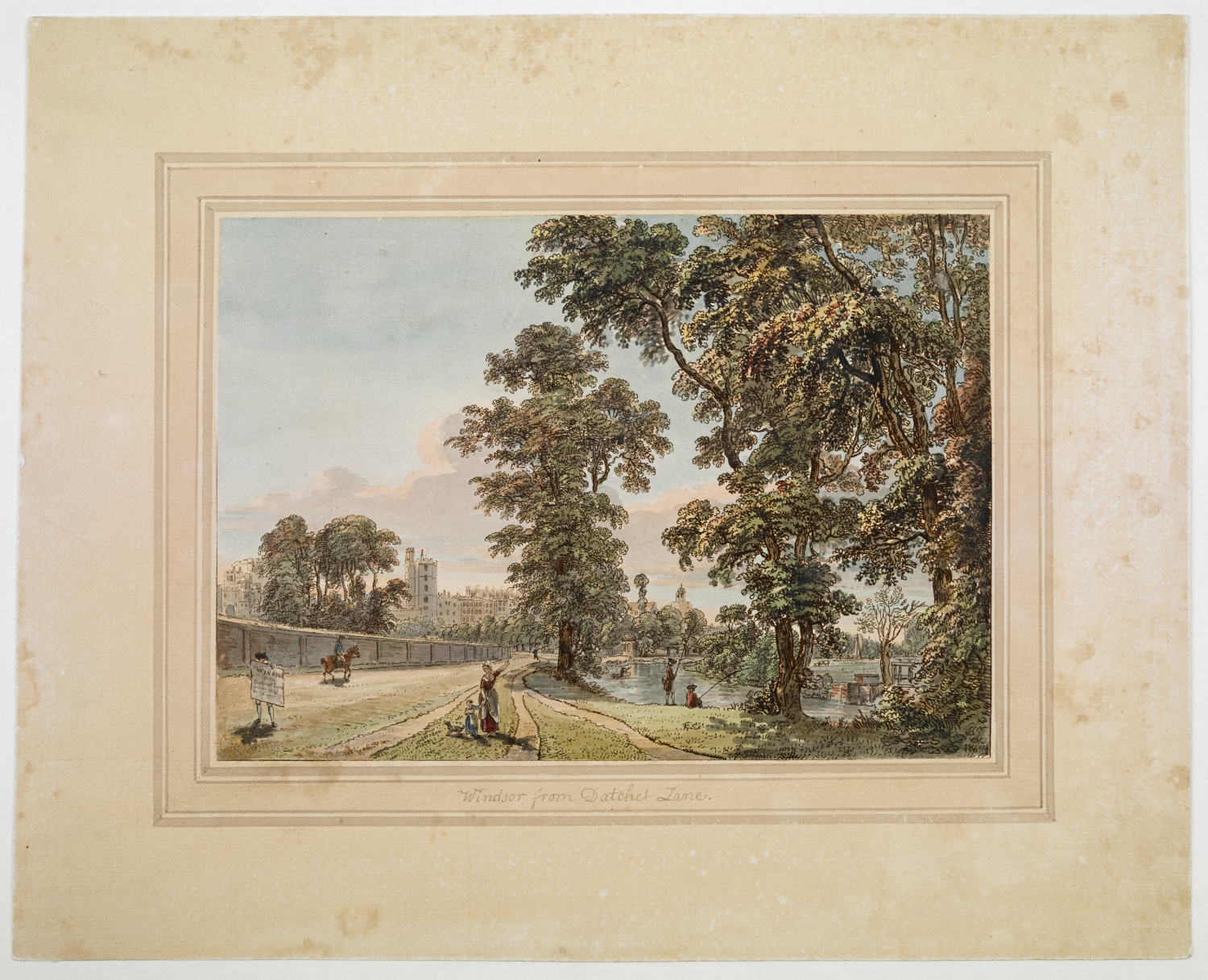 ummary: View across parkland with people fishing on the banks of the river to right, a woman and child on the path, pointing back at Windsor, which is seen among trees in the background and looking to left at a man who carries a placard inscribed 'Windsor from Datchet Lane Drawn 1769 Etch'd 1780'. Bears title inscribed in black ink below image on washline mount. Inscribed '11 tab fol 6' in blue crayon on verso.