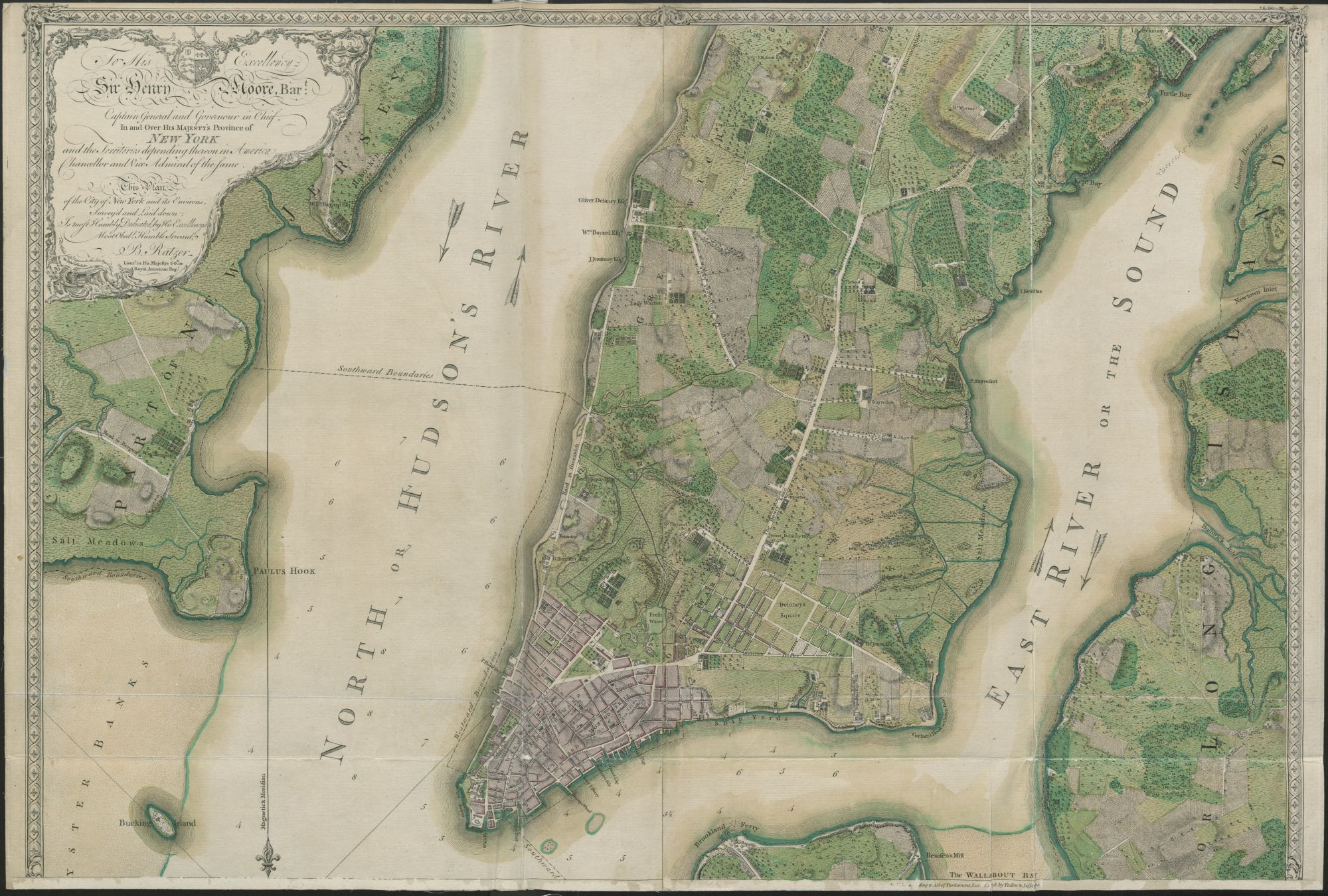 PLAN of the CITY of NEW YORK, in North America : Surveyed in the Years 1766 & 1767 / B. Ratzer, Lieut.t in His Majestys 60th or Royal American Reg.t. Bernard Ratzer, cartographer., London : Publish'd according to Act of Parliament, Jan.y 12. 1776 by Jefferys & Faden, Corner of St. Martins Lane, Charing Cross, Jan.y 12. 1776., Maps 1.Tab.44.