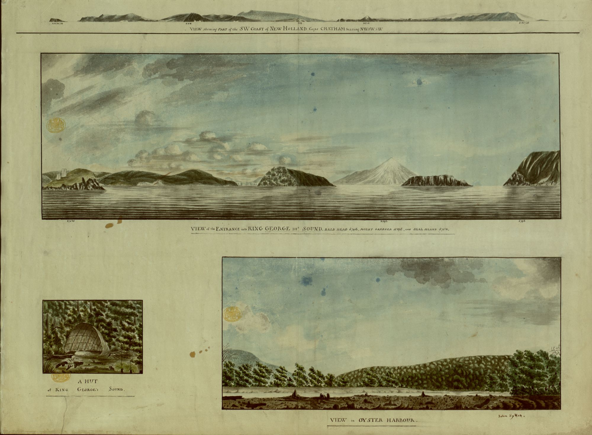 John Sykes (1781 or 1782 – 1837), VIEW of the ENTRANCE into KING GEORGE IIId SOUND: BALD HEAD S79E, MOUNT GARDNER N89E, and SEAL ISLAND S75W, [about 1792], pen and black ink with watercolour and gum arabic, 510 x 671 mm, Maps K.Top.116.65.