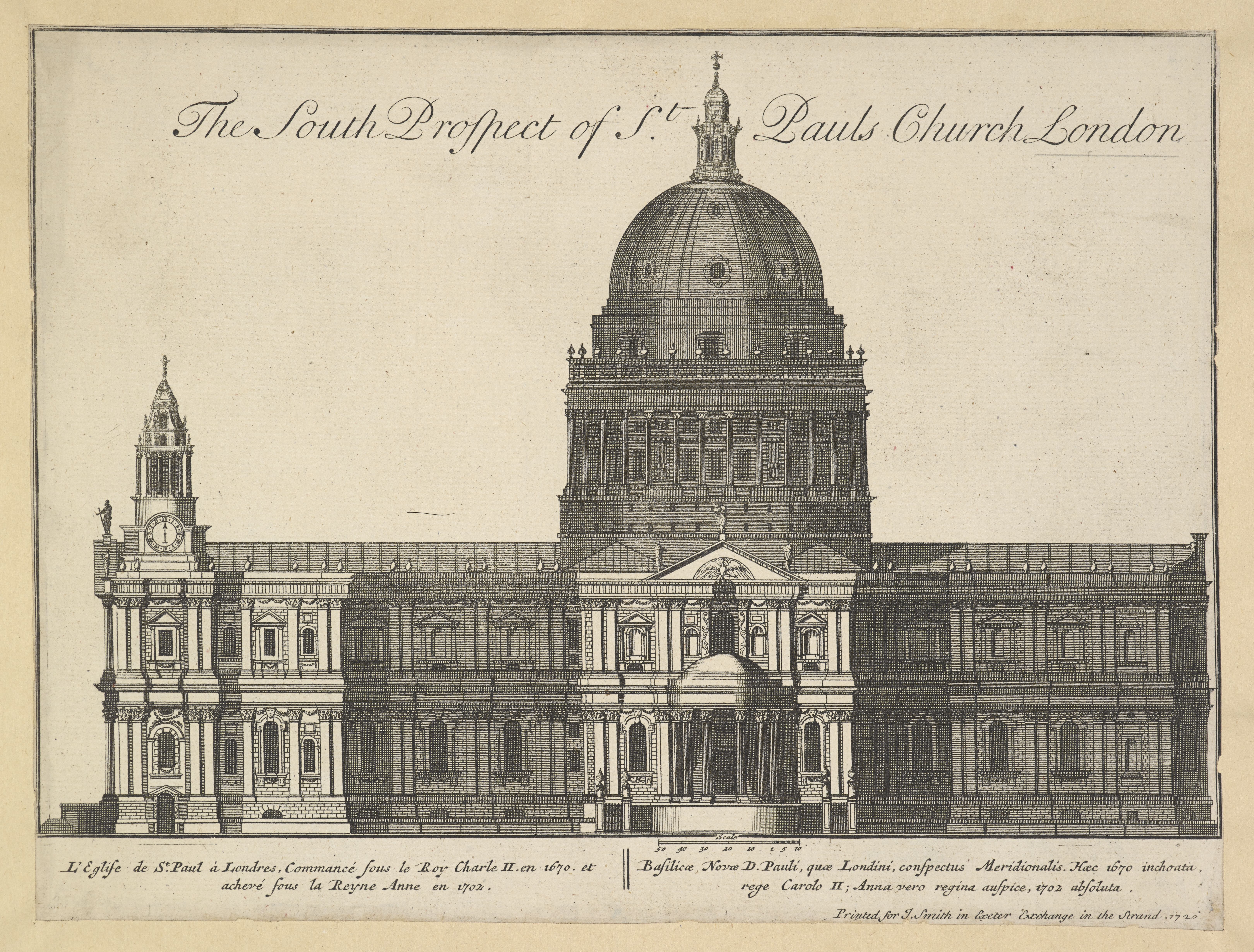 The South Prospect of St. Paul's Church London, 1720, RECTO