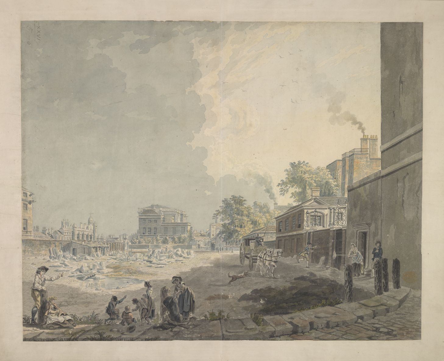View of the back of Whitehall with figures sitting in the foreground; ruins in the middle ground; a horse and cart on the right. Paper bears a Whatman watermark.