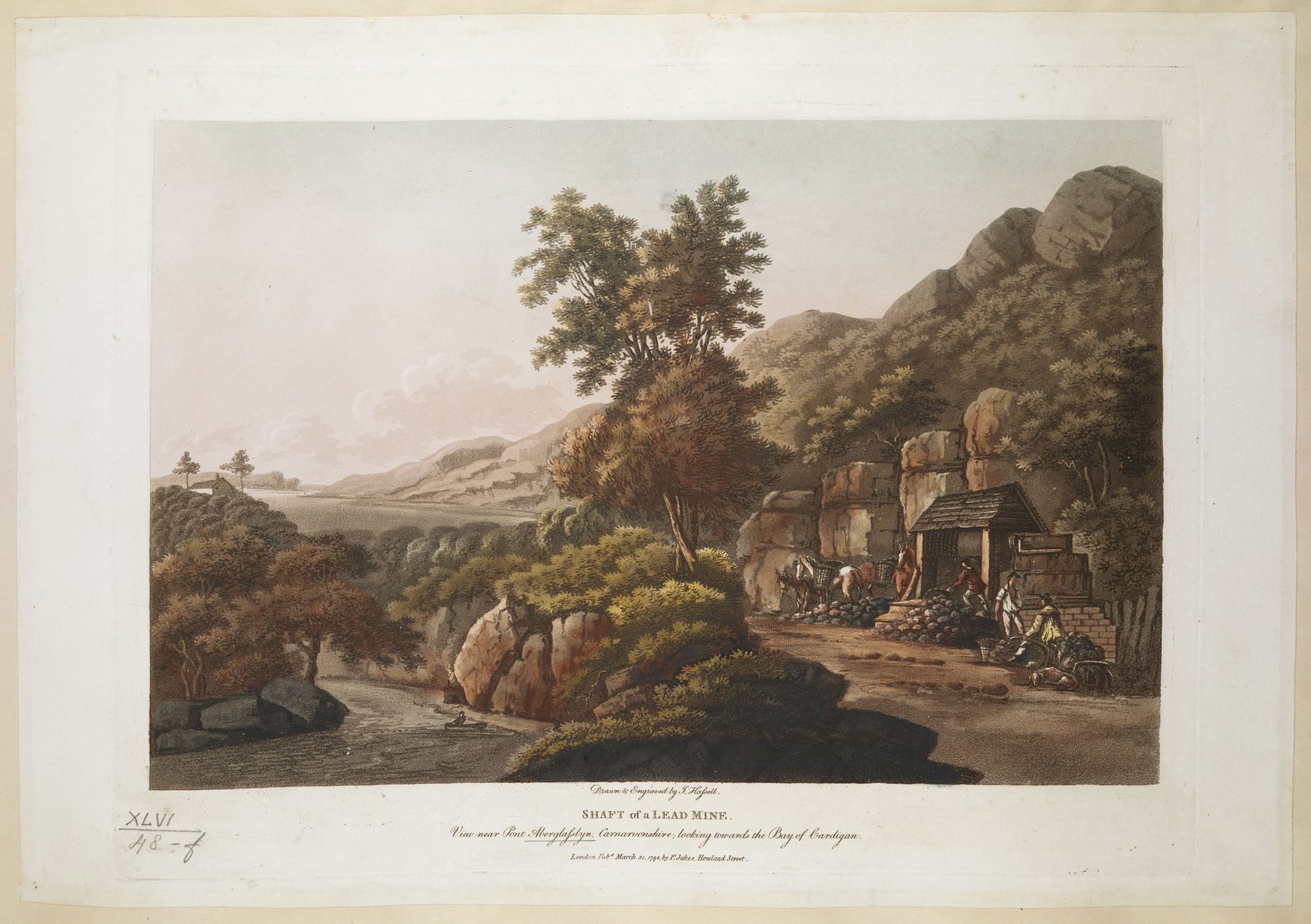 Shaft of a Lead Mine. View near Pont Aberglasslyn, Carnarvonshire, looking towards the Bay of Cardigan, by John Hassell.