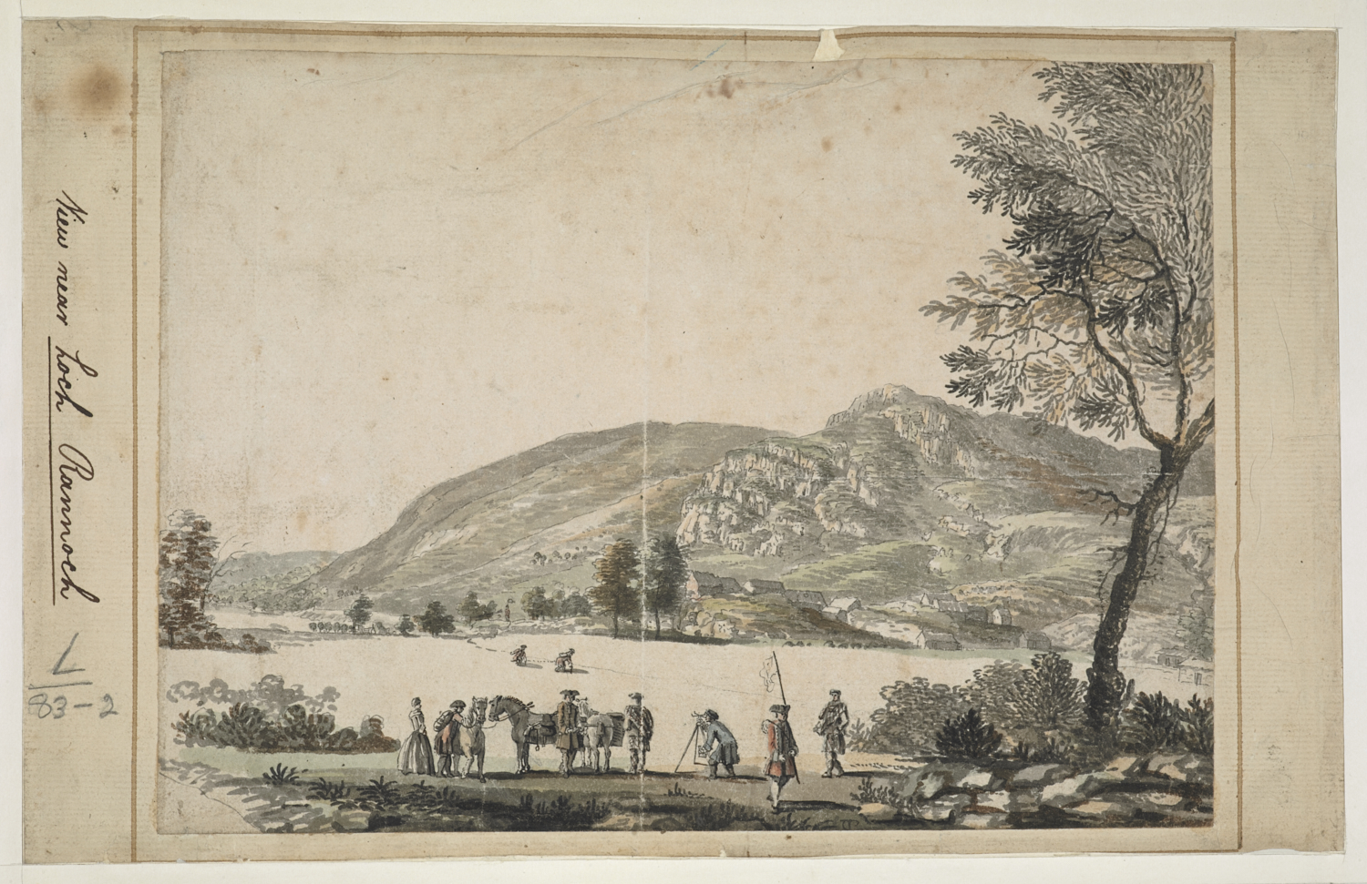 igures surveying the eastern end of Loch Rannoch as part of the Military Survey of northern Britain; one figure using a circumfrentor; another holding a flag; trees throughout the scene; hills in the distance.