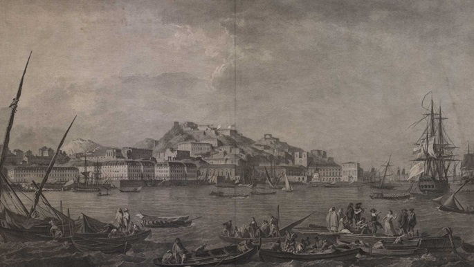 An engraved view of the port of Lisbon by François Allix after Alexandre Jean Noël.