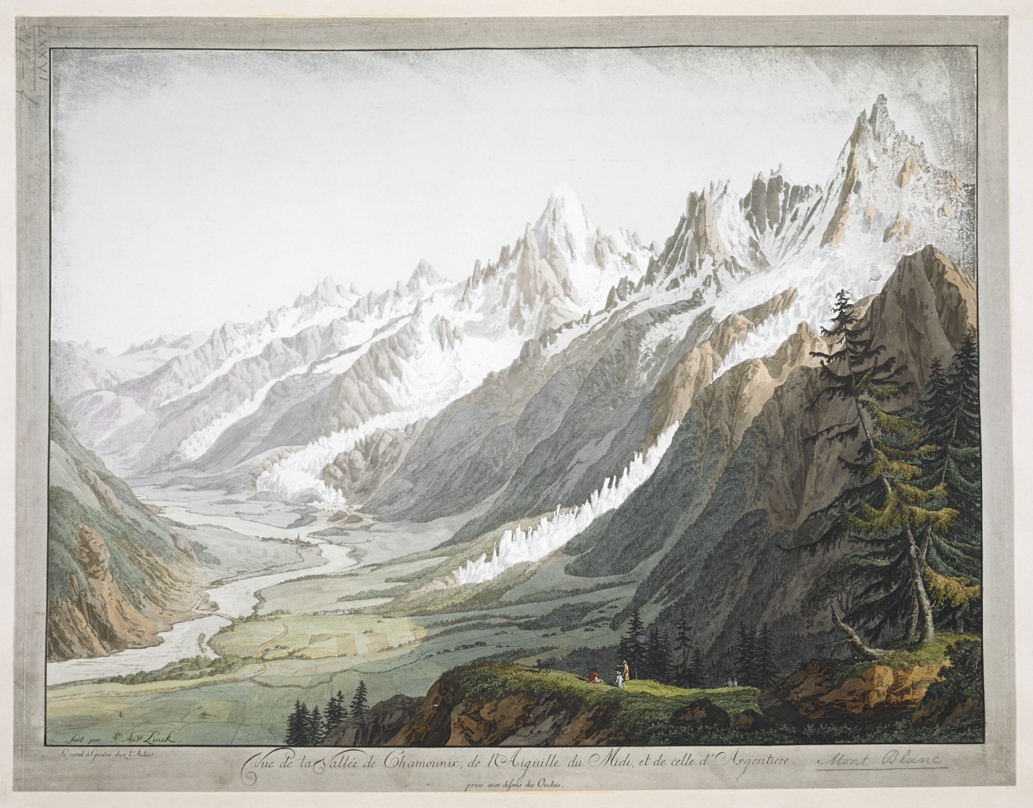 Summary: Four men resting on stones in the foreground, with the River Arveiron rising from a glacier in the background; within wash border.  Summary: Titled 'Vue de la Source de l'Arveron, par Hackert' in the Catalogue of the Maps, Prints, Drawings, etc., forming the geographical and topographical collection attached to the Library of his late Majesty King George the third, etc., London, 1829.