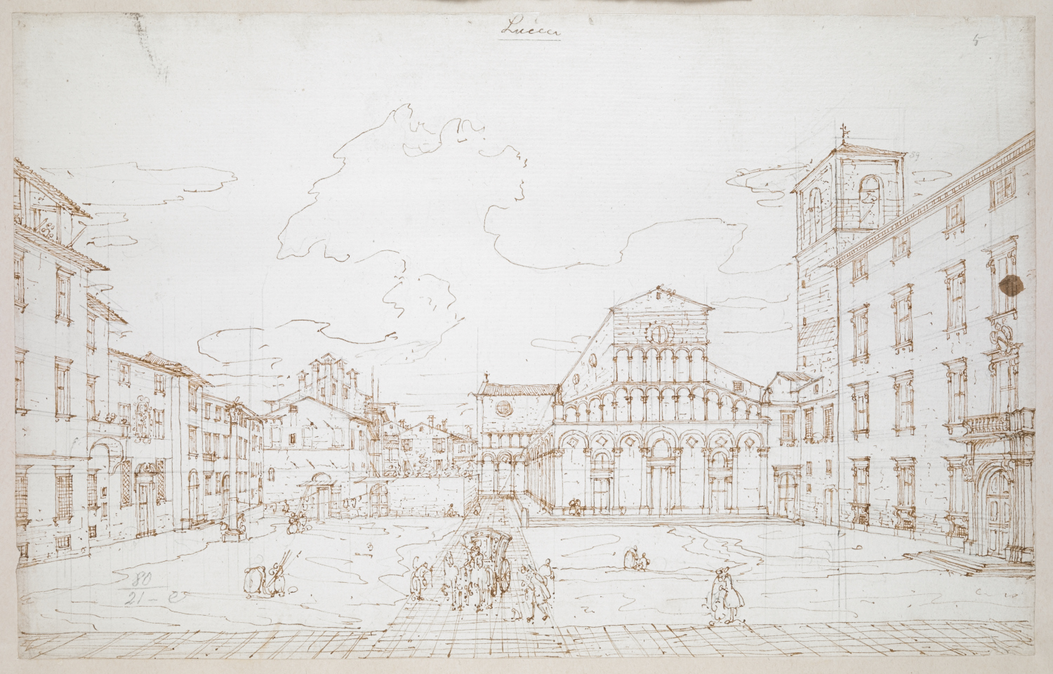 Piazza and Church of Santa Maria Forisportam in Lucca by Bernardo Bellotto. Carriage and figures in the Piazza di Santa Maria Bianca in the foreground, with group of three-storey houses, Colonna Mozza and end of the Via Santa Croce at left, palazzo and campanile at right, and main façade of the Chiesa di Santa Maria Forisportam in the background.