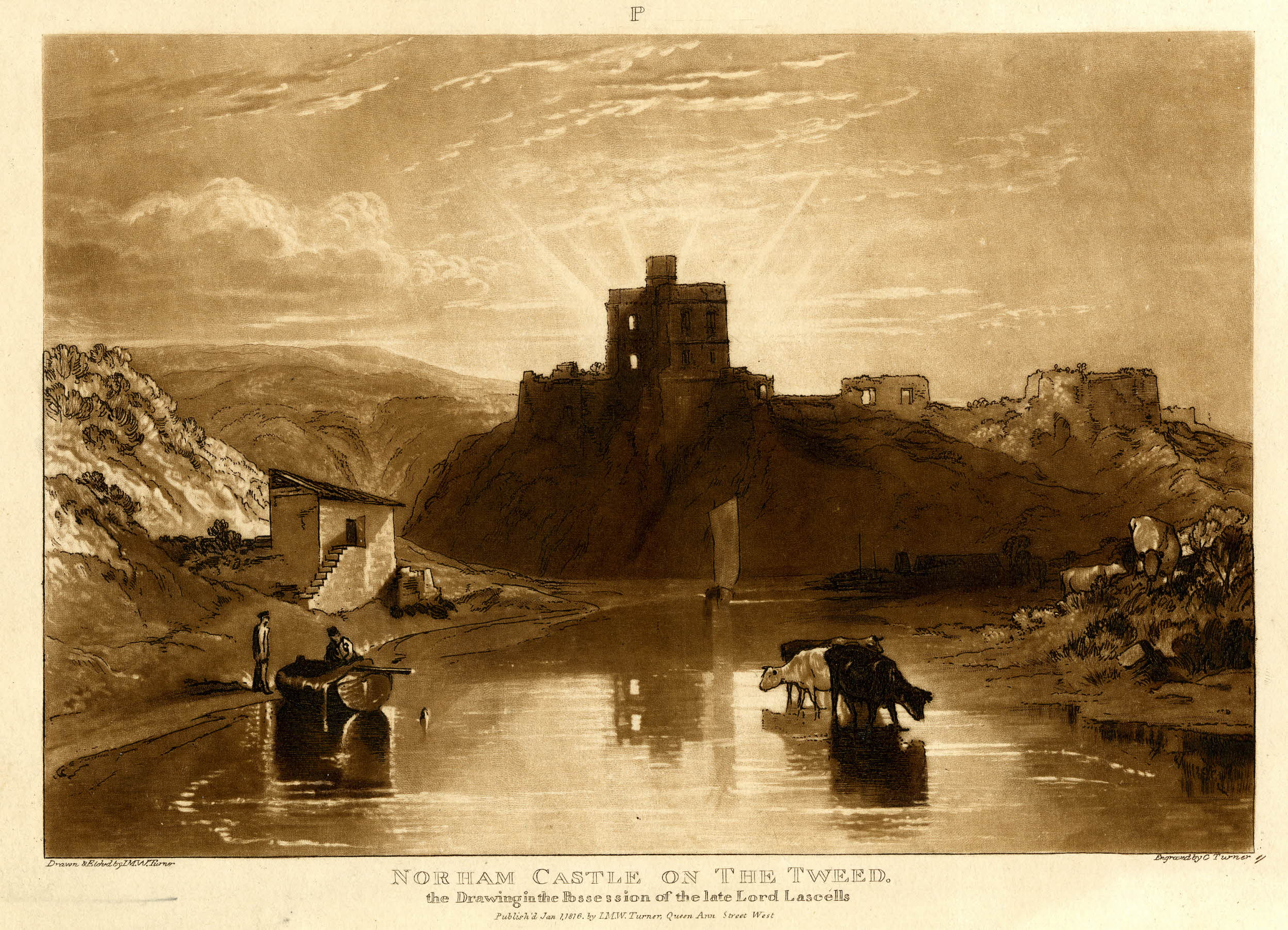 Charles Turner (1773-1857) after Joseph Mallord William Turner (1775-1851), Norham Castle on the Tweed, London, 1 January 1816, mezzotint and etching