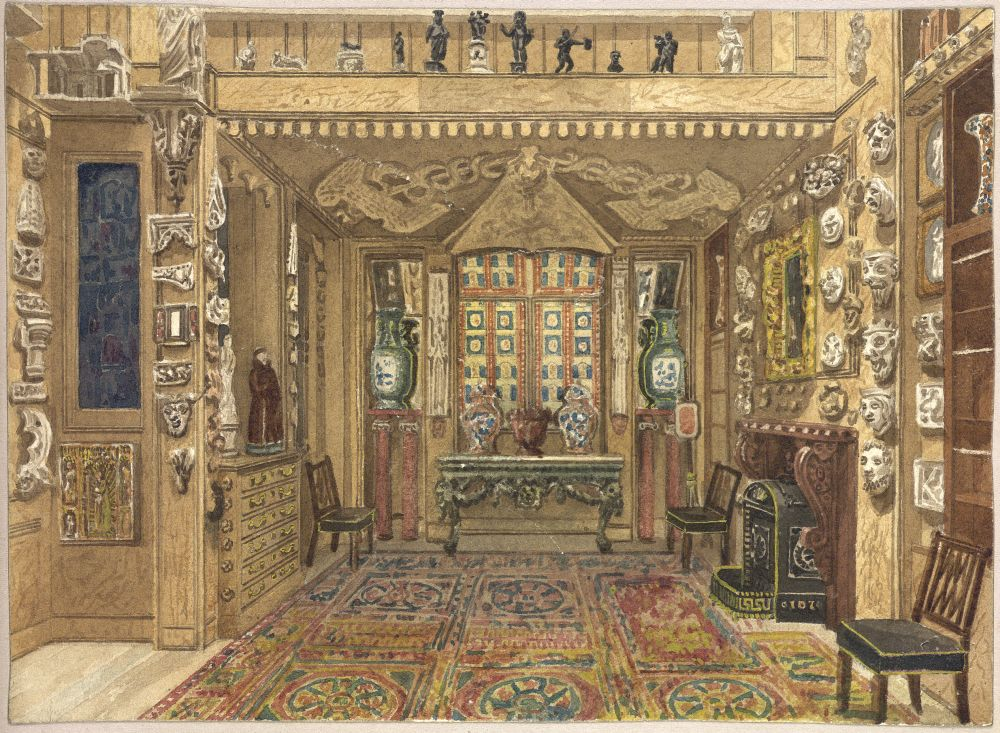Image of Soane's watercolour entitled 'View of monk's parlour looking north'