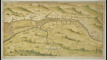 A Tudor plan of the River Severn between Gloucester and Cardiff.