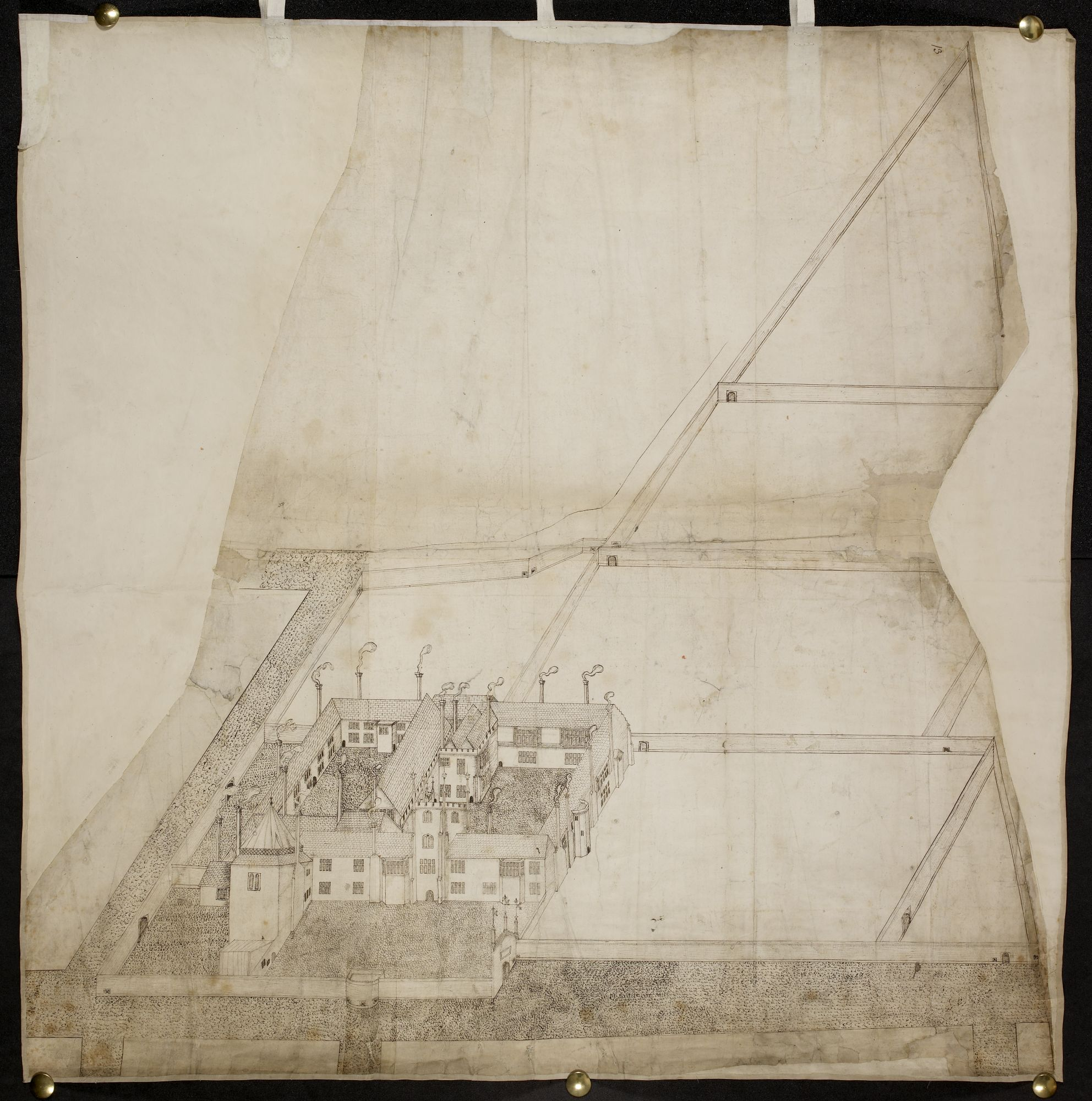 A bird's-eye perspective of Hull Manor House by John Rogers.