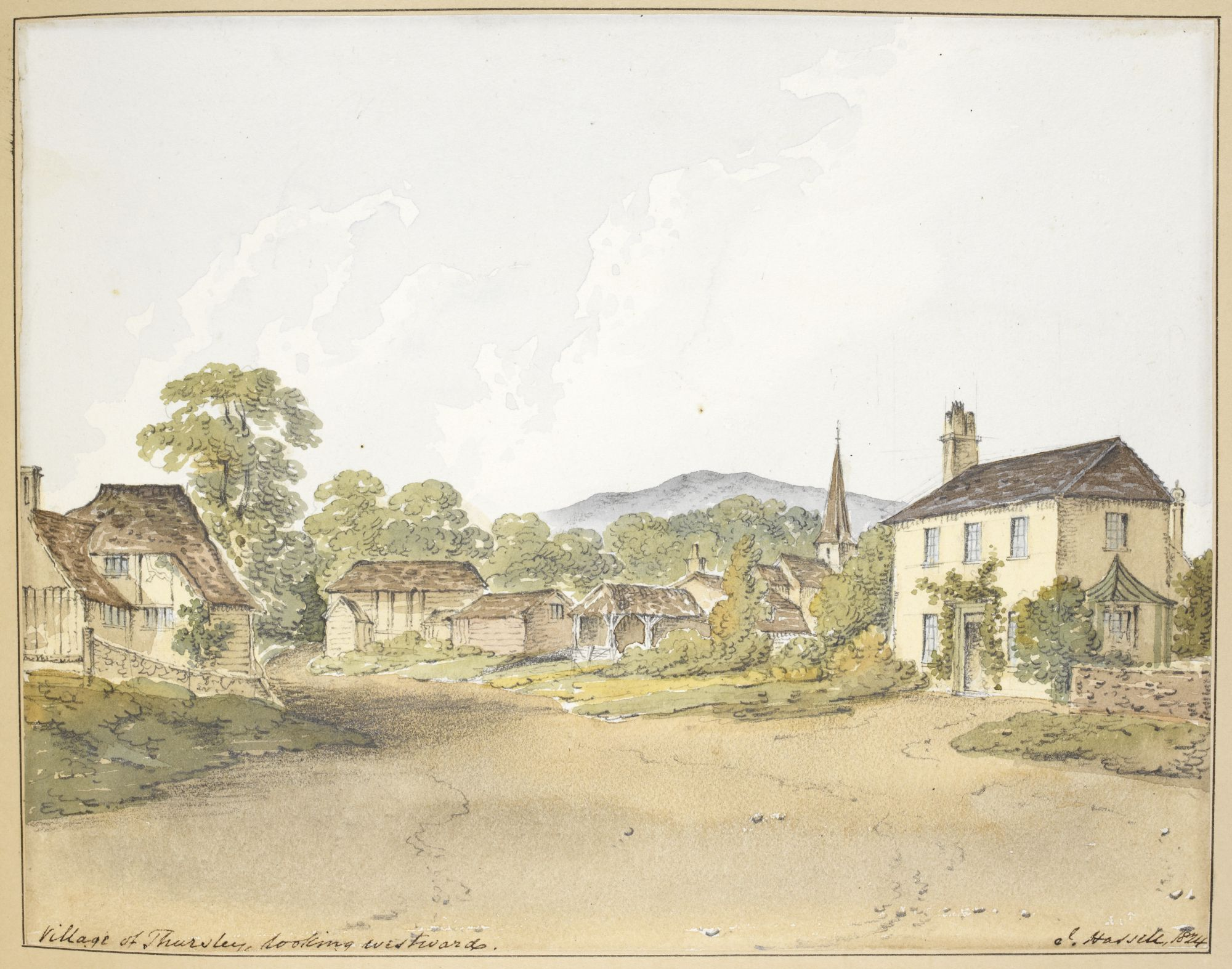 A view of the village of Thursley by John Hassell.