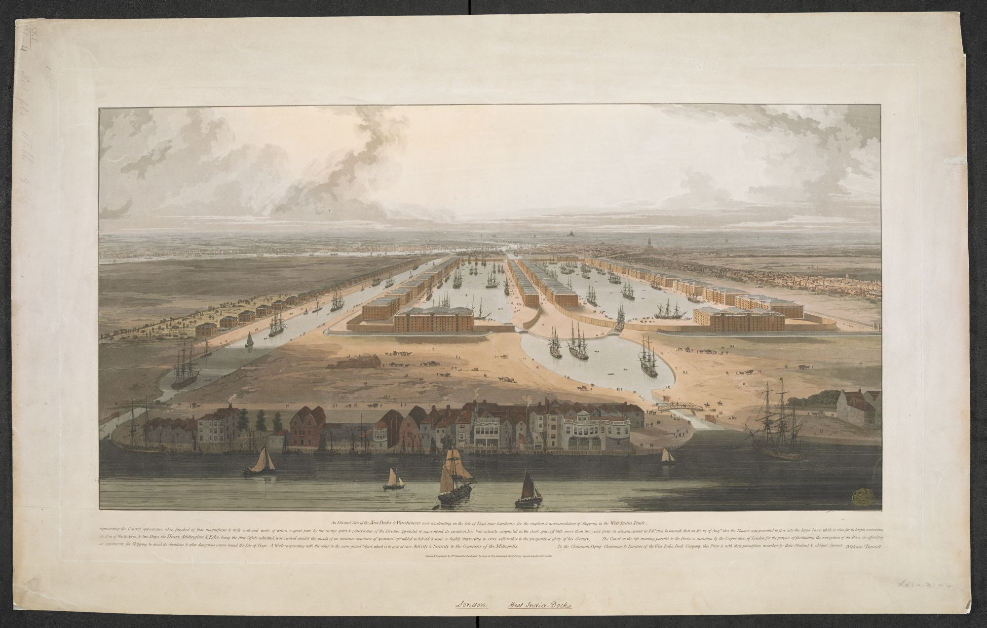 William Daniell, An Elevated View of the New Docks & Warehouses now constructing on the Isle of Dogs near Limehouse for the reception & accommodation of Shipping in the West India Trade, published by William Daniell, London, 1802, aquatint with hand colouring, plate 49.2 x 85.6 cm, on sheet 59.3 x 94.8 cm, British Library, London, Maps K.Top.21.31.4.11 TAB.