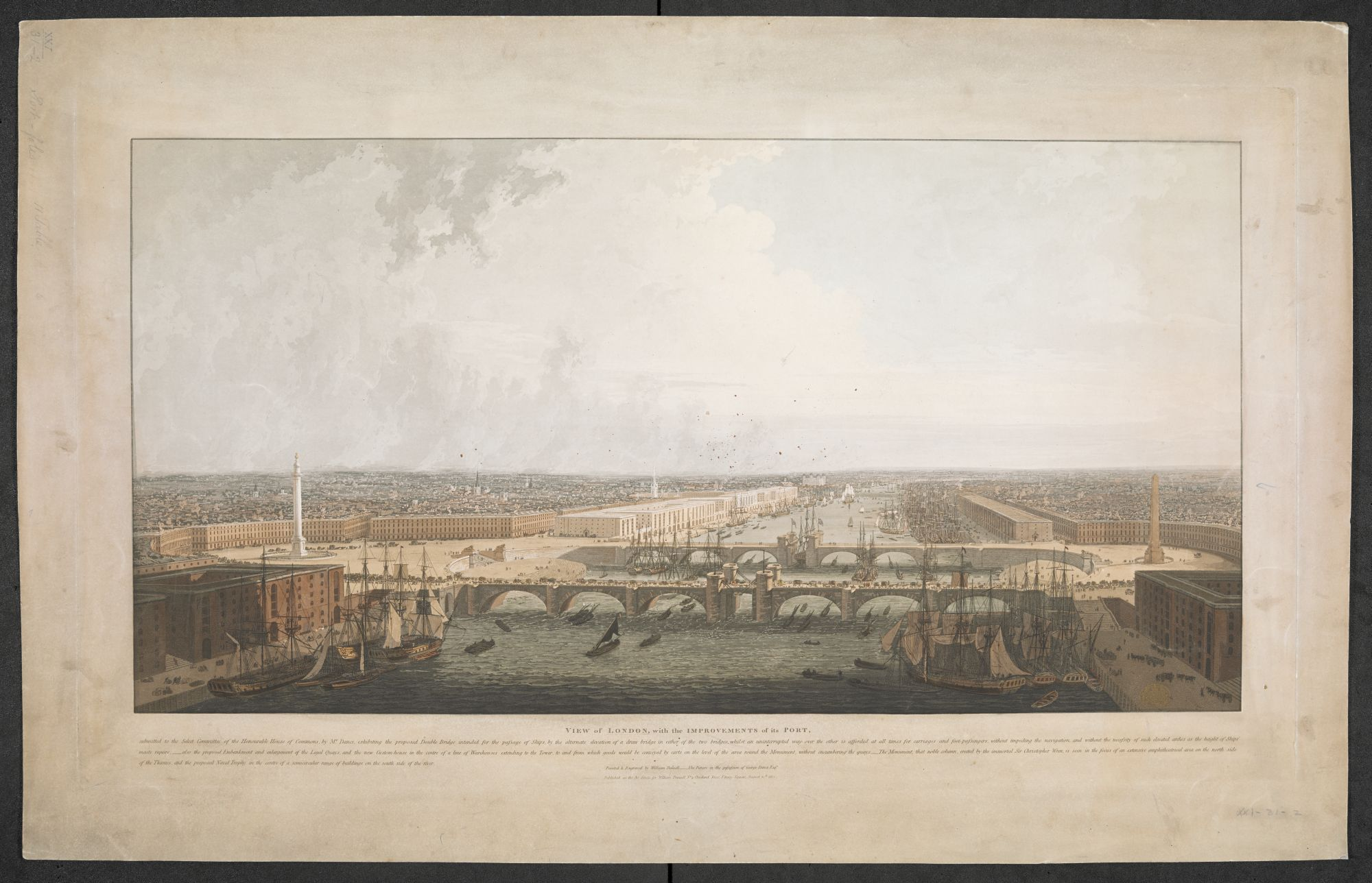 William Daniell, View of London, with the Improvements of its PORT: submitted to the Select Committee of the Honourable House of Commons, by Mr Dance, exhibiting the proposed Double Bridge intended for the passage of Ships, published by William Daniell, London, 1802, aquatint with hand colouring, plate 49 x 86 cm, on sheet 59.1 x 93.5 cm, British Library, London, Maps K.Top.21.31.2 PORT.11 TAB.