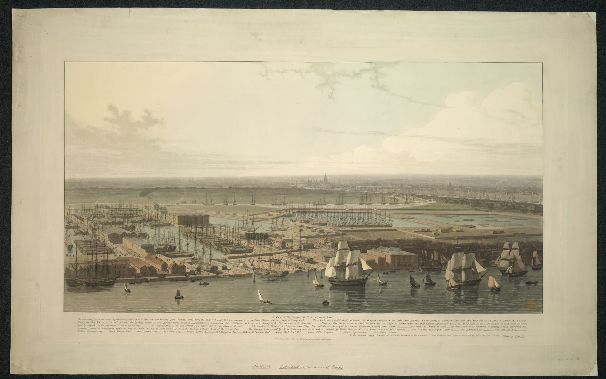 William Daniell, A View of the Commercial Docks at Rotherhithe, published by William Daniell, London, 1813, etching and aquatint with hand-colouring, plate 49.9 x 86 cm, on sheet 60 x 96 cm, British Library, London, Maps K.Top.21.31.6.PORT.11 TAB.
