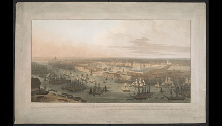 William Daniell, An Elevated View of the New Dock in Wapping, published by William Daniell, London, 1803, aquatint with hand colouring, plate 49.4 x 86 cm, on sheet 60 x 93.5 cm, British Library, London, Maps K.Top.21.31.3.a.PORT.11.TAB.