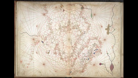 Mid-15th-century chart of the central Mediterranean.