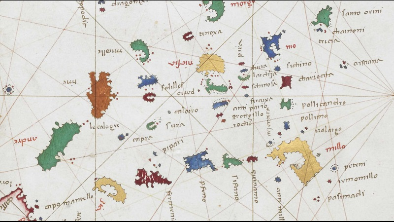 1489 chart of the Aegean from the Cornaro atlas.