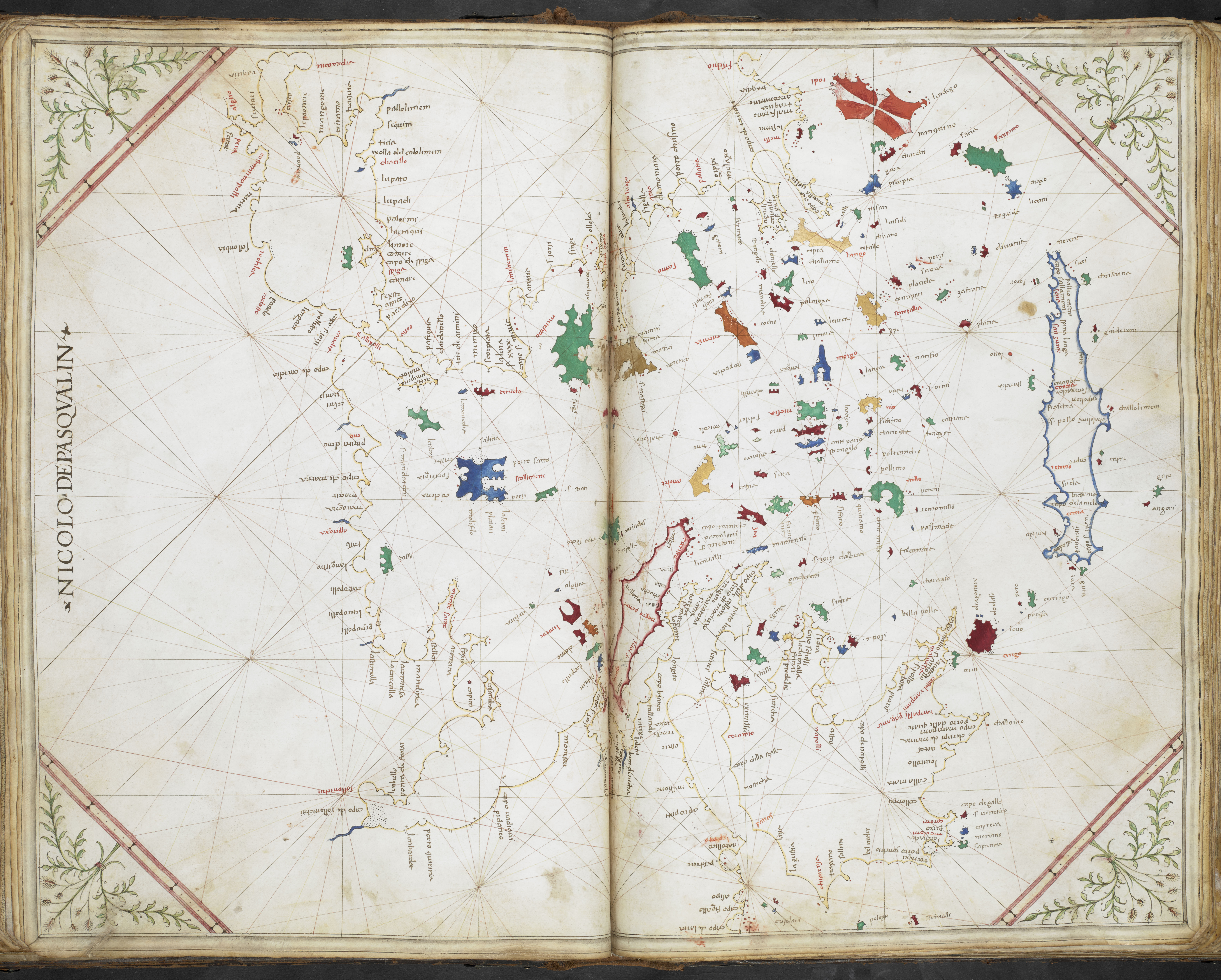 Early 15th century chart of the Aegean from the Cornaro atlas.