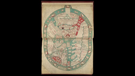 World map by Ranulph Higden, dated 1400. This page contains the right half of a map of the world with England to the lower right side, with fourteen cities identified