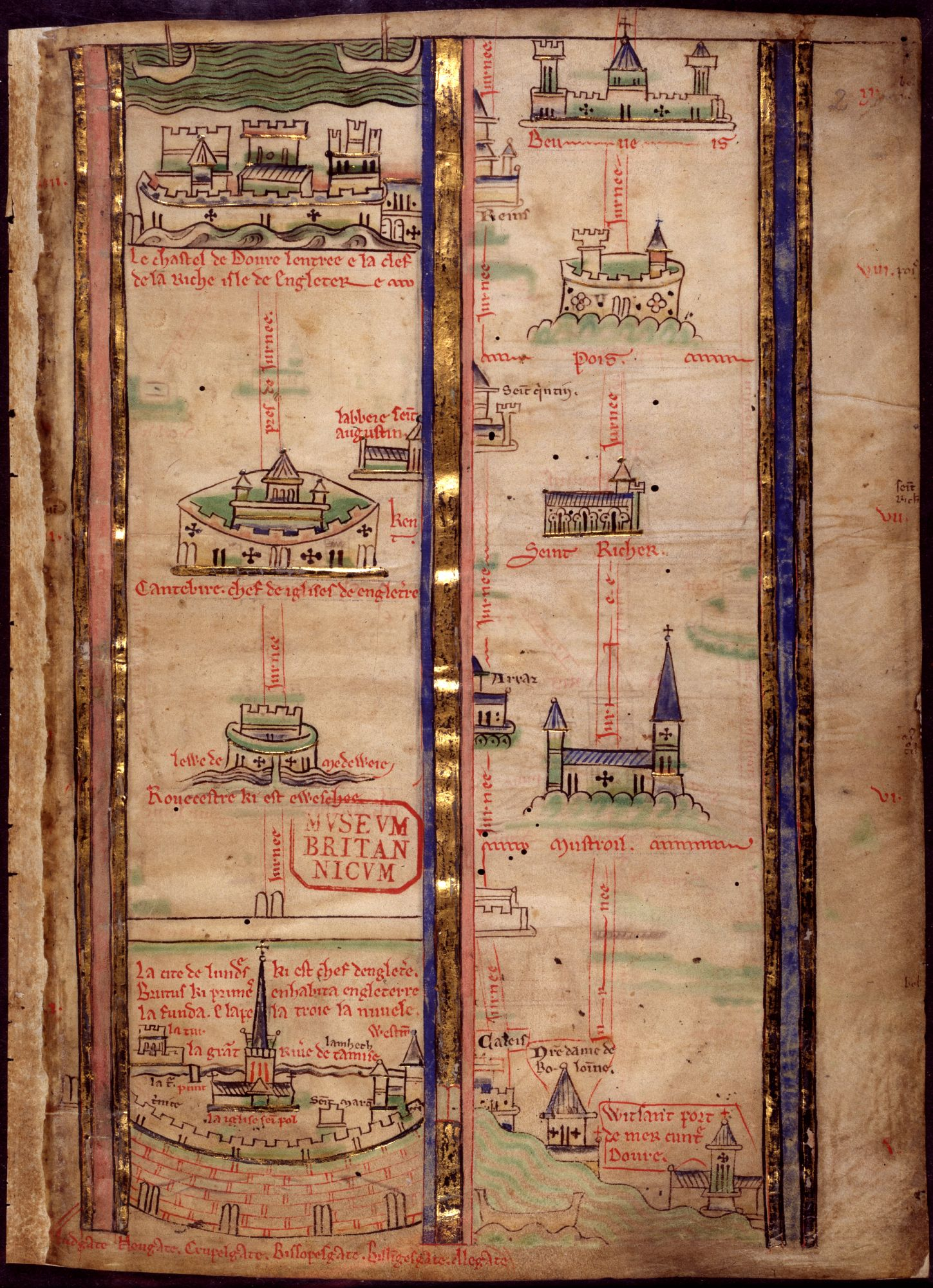 A linear map showing the route from London to Beauvais from Matthew Paris's Itinerary from London to the Holy Land.