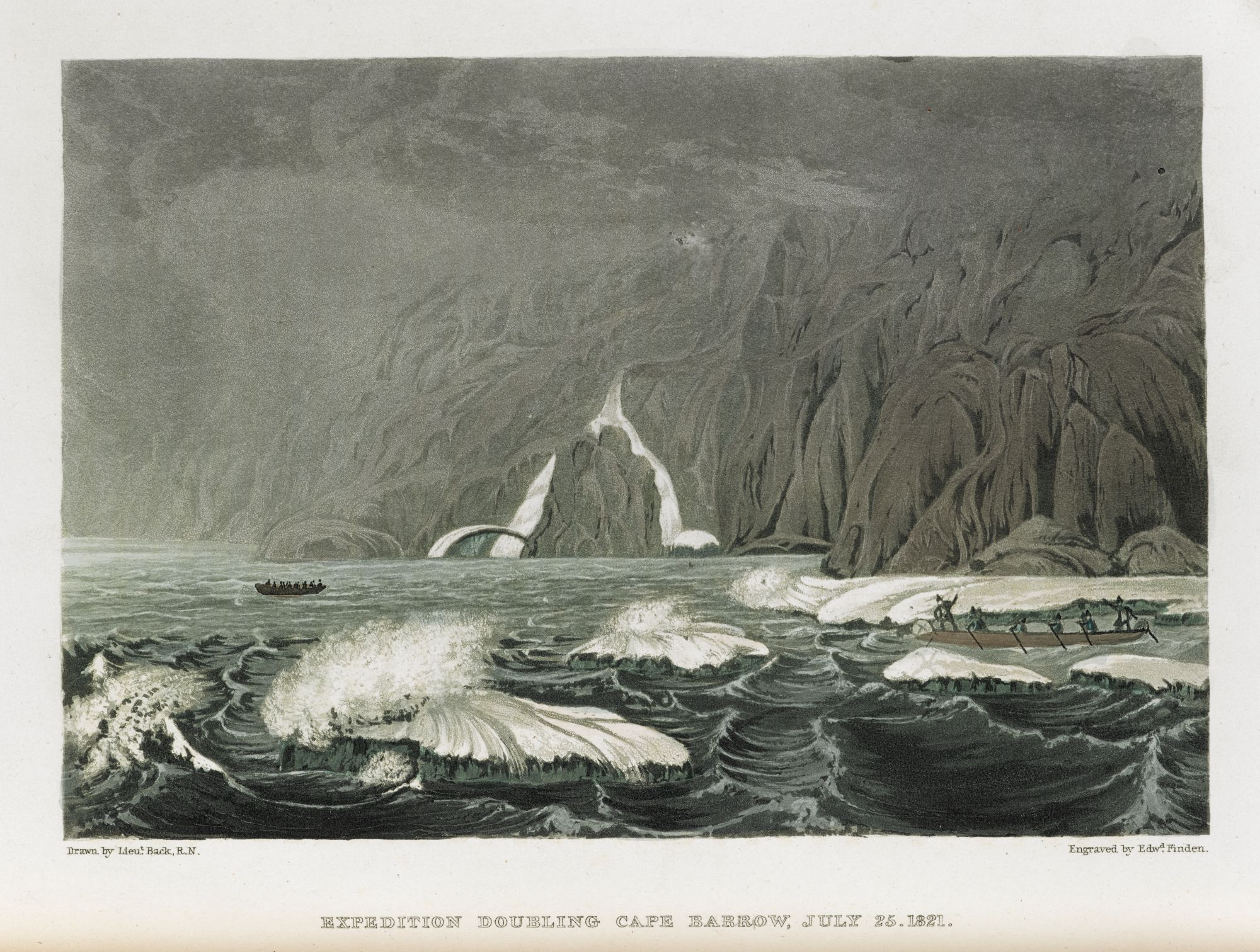 Expedition doubling Cape Barrow, by Edward Finden after George Back.