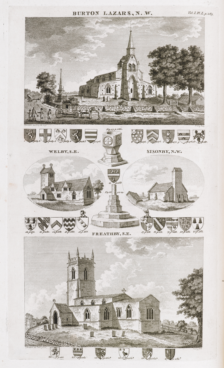 Illustrative plate from The History and Antiquities of the County of Leicester