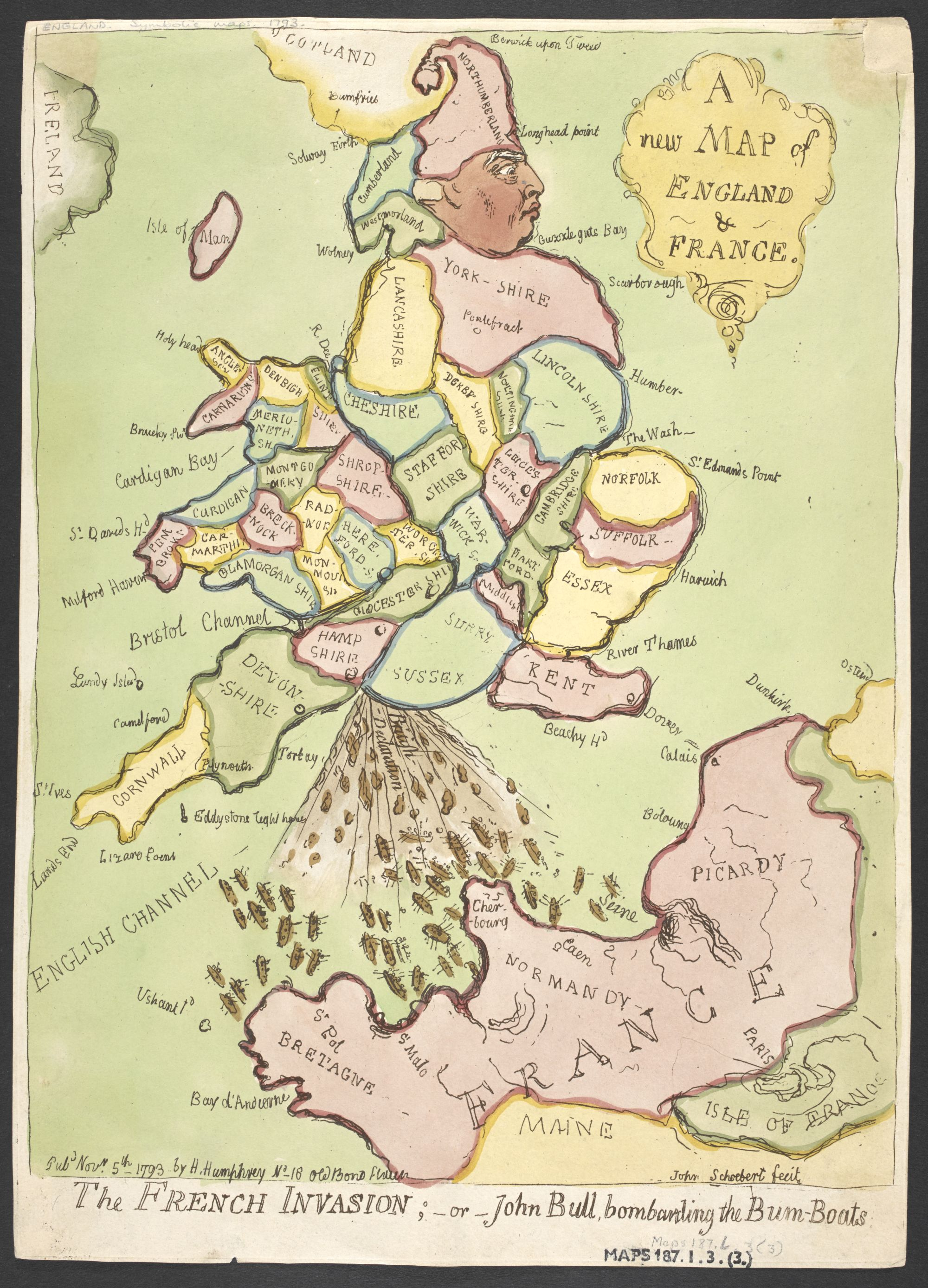 James Gillray (1756–1815), A New Map of England & France. The French Invasion; or John Bull, bombarding the Bum-Boats, published London, Hannah Humphrey (1745–1818), 5 November, 1793, hand-coloured etching, 33 x 24 cm, British Library 187.l.3.(3.)