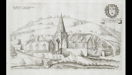 Daniel King (about 1616-about 1661), Finchalense Cœnobium in Episcopatu Dunelmensi, about 1655-56, etching (British Library, Harl 2073, f. 51).