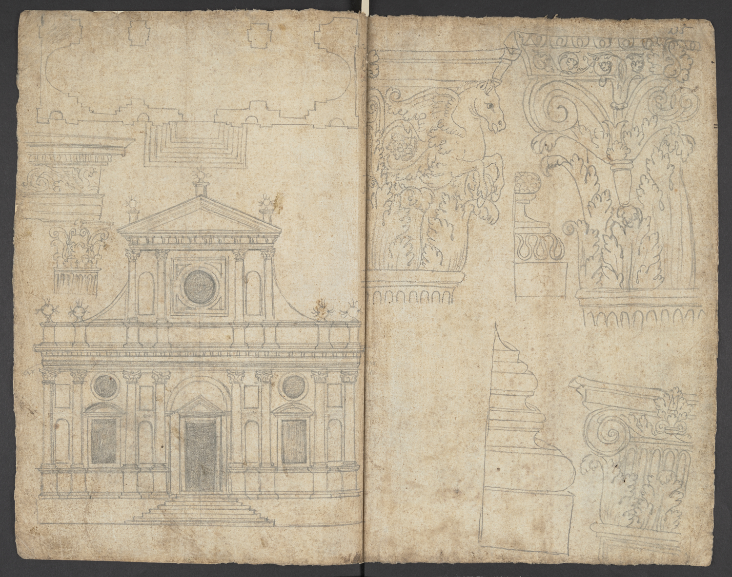 Anonymous, after Sebastiano Serlio (1475-1554), The Corinthian Order, 17th century, pen and ink over graphite, (British Library, Harl 2073, ff. 134v and 135r).