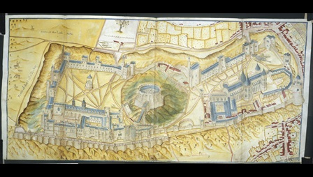 A bird's-eye perspective of Windsor Castle by John Norden.