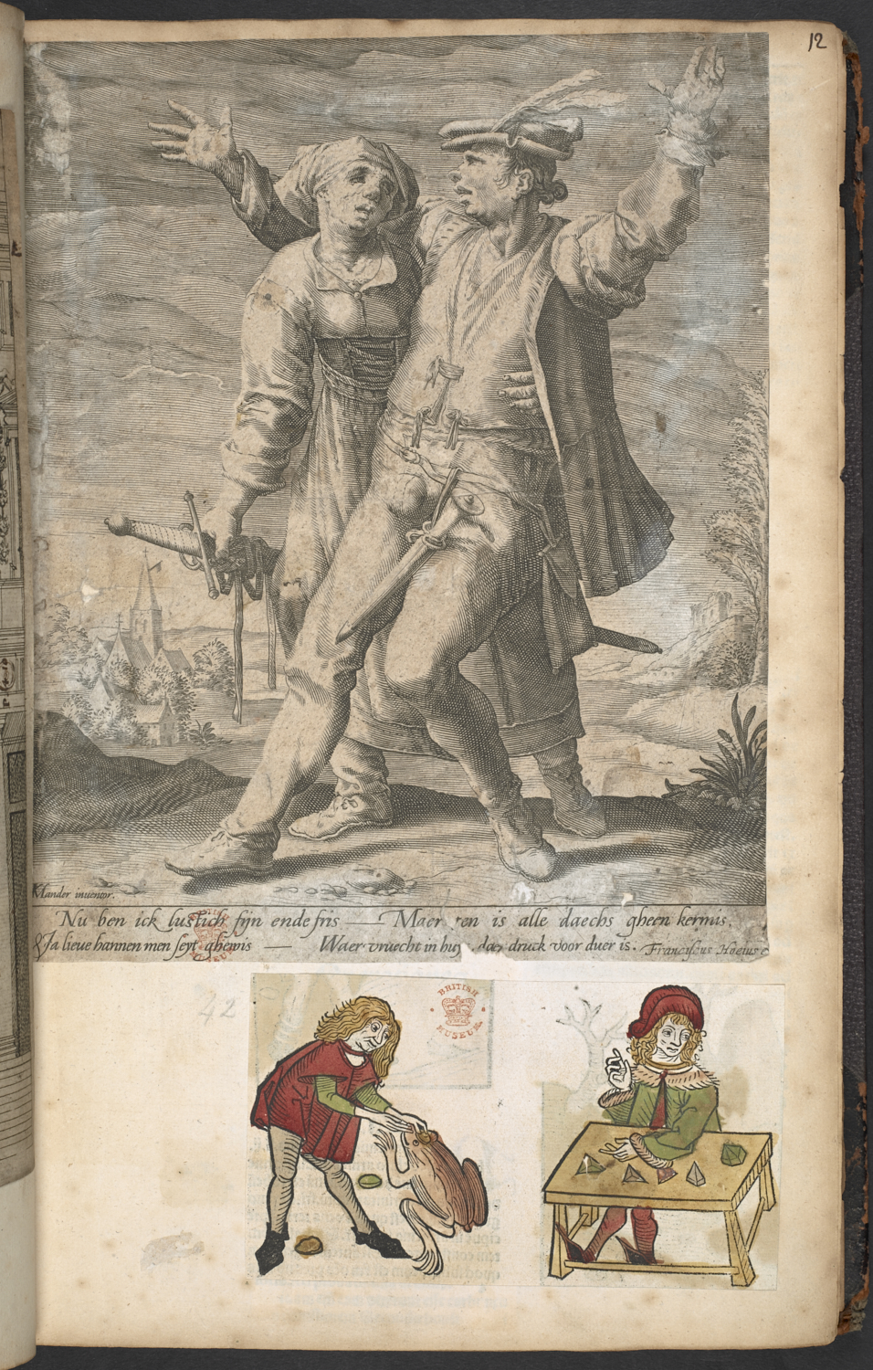 Anonymous, after Karel van Mander (1548-1606), Nu ben ick lustich frijn ende fris…, about 1588, engraving and etching, Harley MS 5944, f. 12.