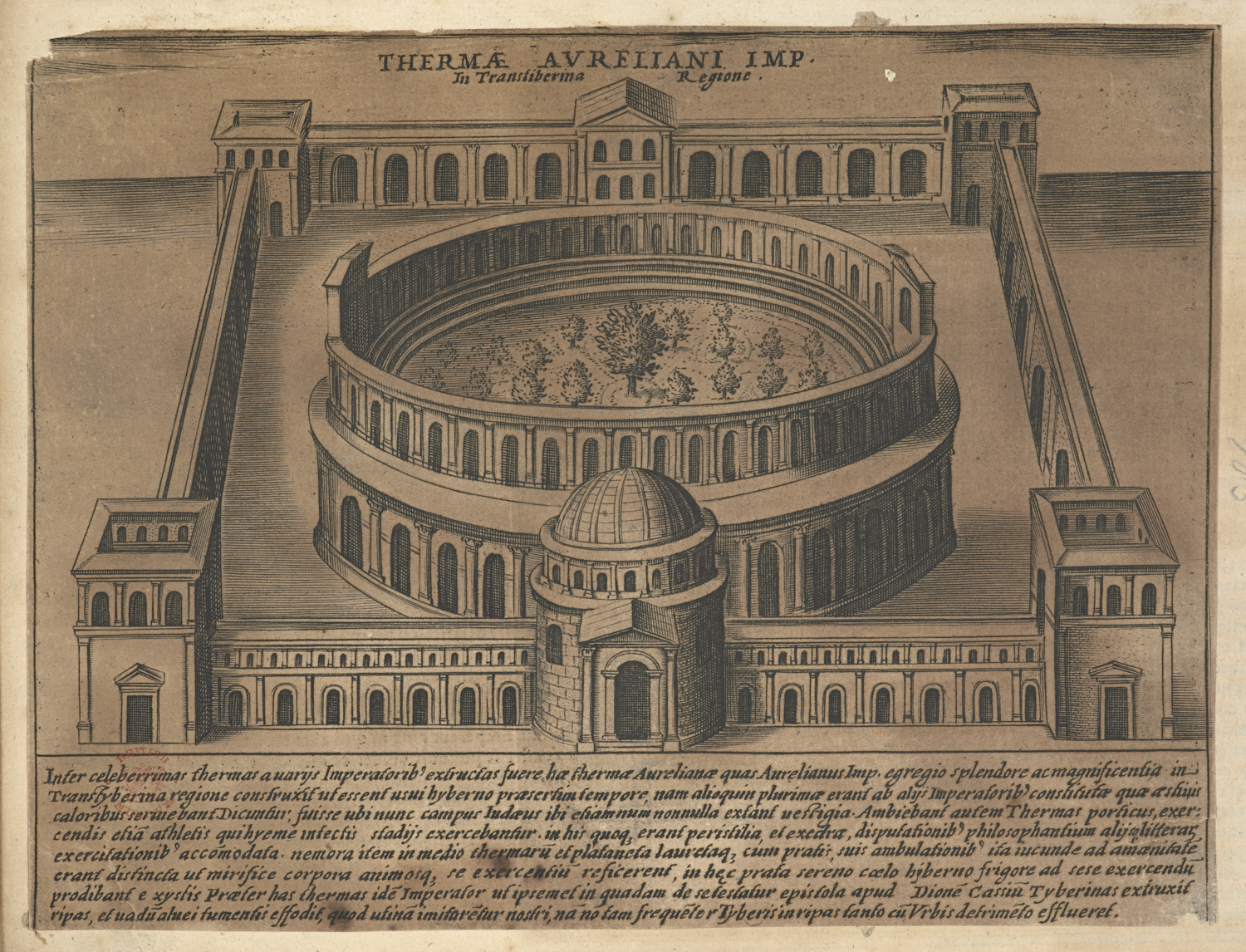 Giacomo Lauro (1583-1645), Thermae Aureliani Imp. in Transliberina Regione, 1612-1628, etching and engraving, Harley MS 5944, ff. 63 (no. 185).