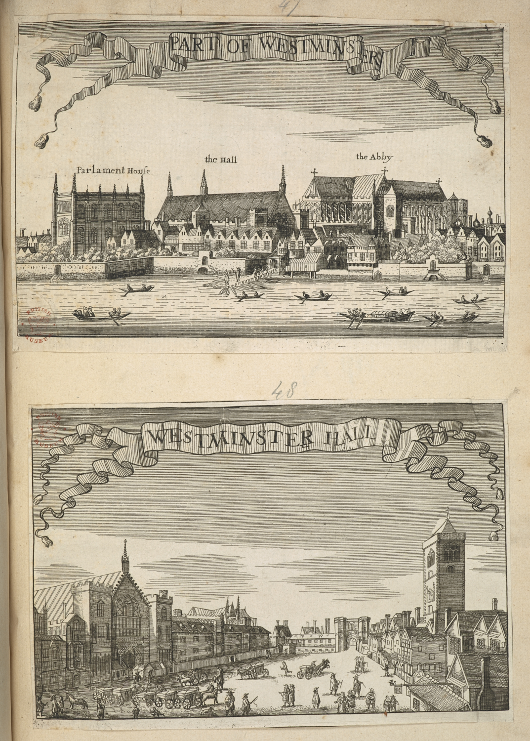John Dunstall (active 1653-1693), after Wenceslaus Hollar (1507-1577), Part of Westminster and Westminster, about 1690, two etchings, Harley MS 5956, nos. 47-48.