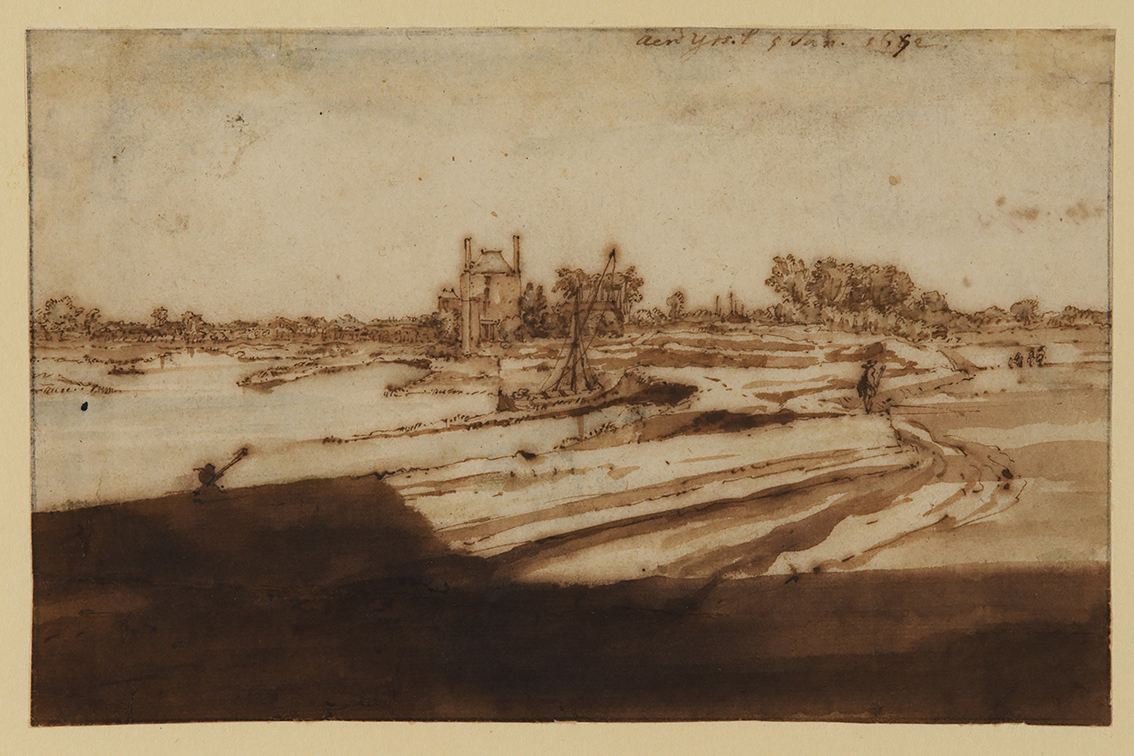 Pen and ink drawing of the River Ijssel by Constantijn Huygens II