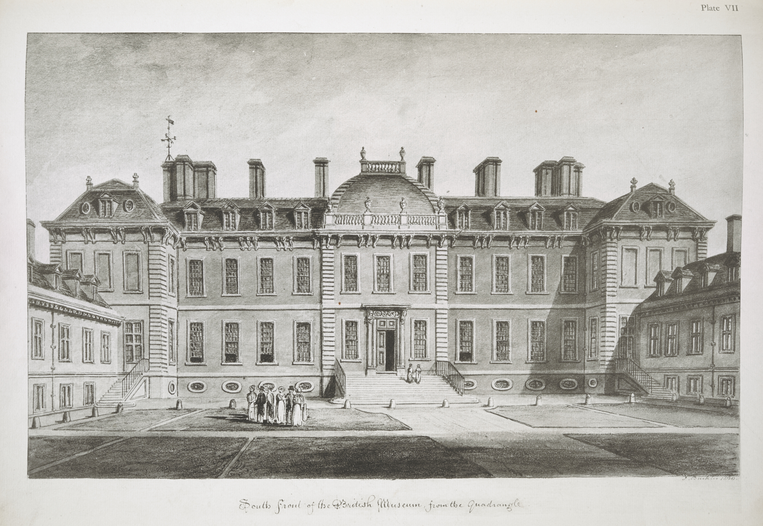 John Chessell Buckler (1793-1894), The South Front of the British Museum, from the Quadrangle, 1828, plate 25.2 x 40.5 cm, image 34 x 45.3 cm, reprinted in Sir Frederic George Kenyon (1863-1952), The Buildings of the British Museum (London: The Artist's Press, Donald Macbeth 1914), plate VII, K.T.C.122.b.8