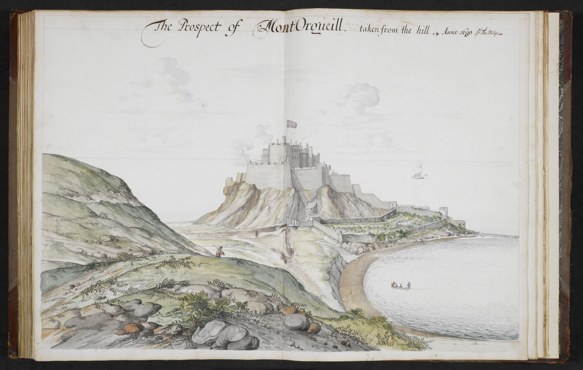 A watercolour view of Mont Orgueil by Thomas Phillips.