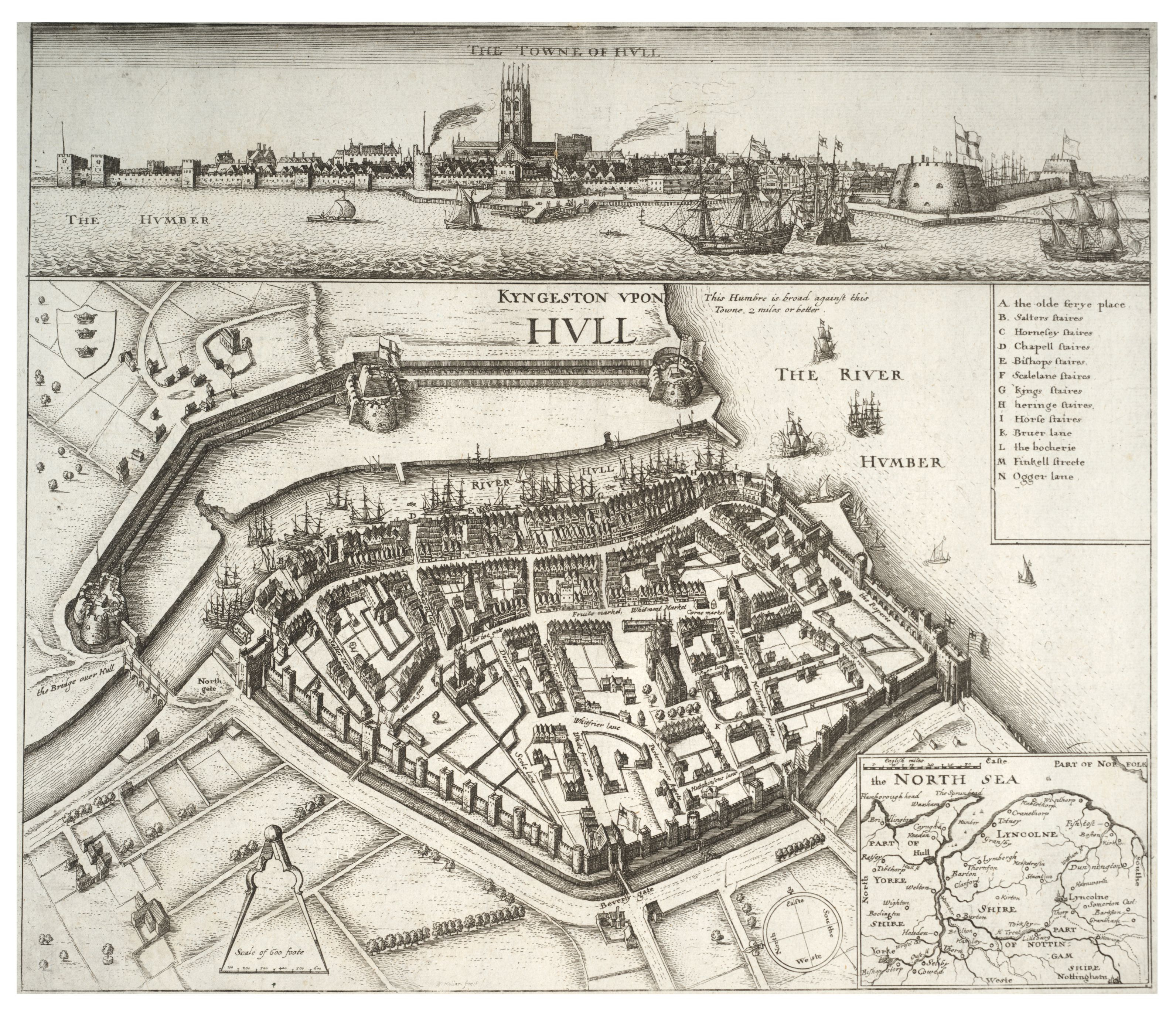 ingston upon Hull. W. Hollar fecit. (The Towne of Hull).