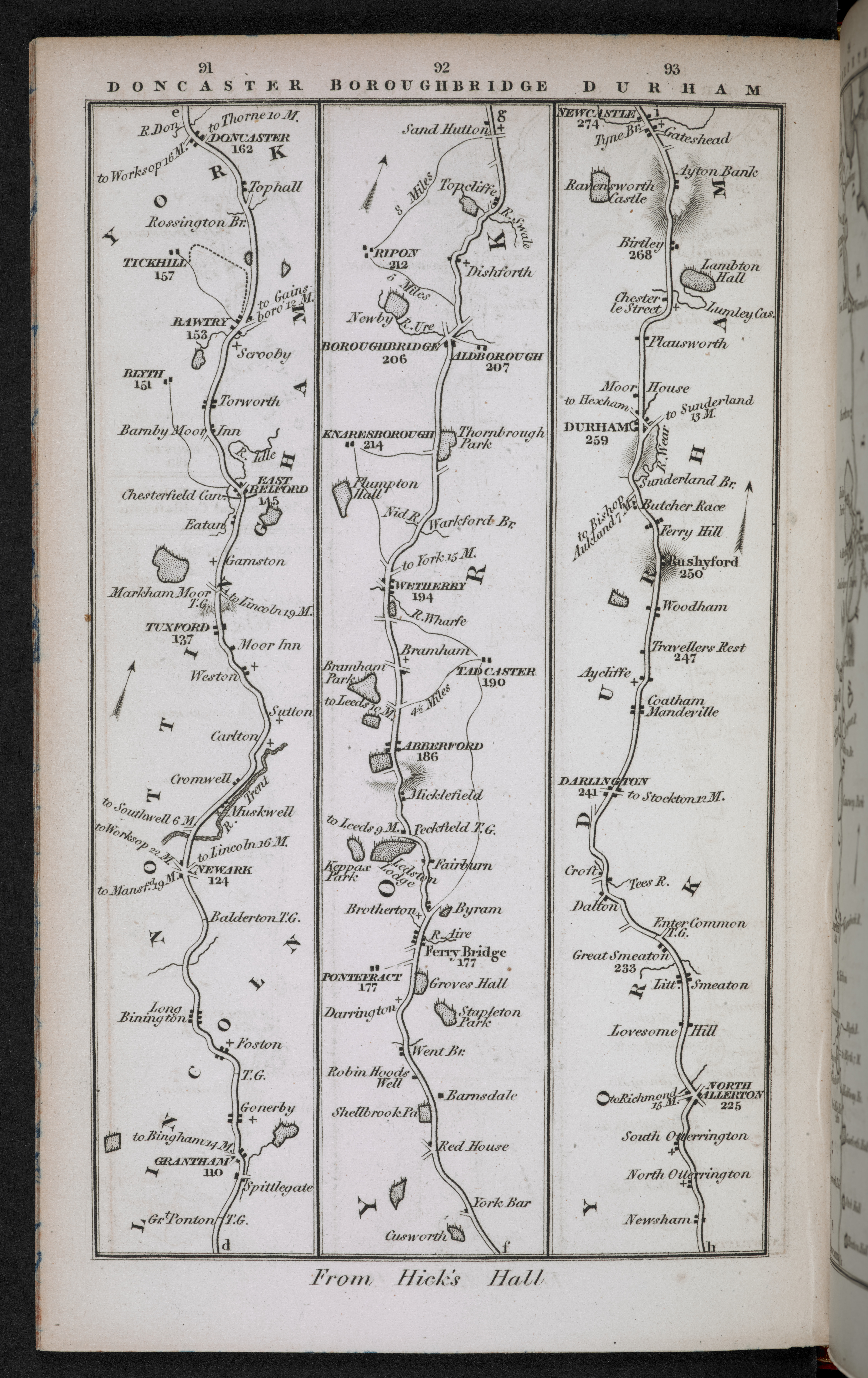 Roads between Grantham and Newcastle, in Charles Smith's New Pocket Companion (1826)
