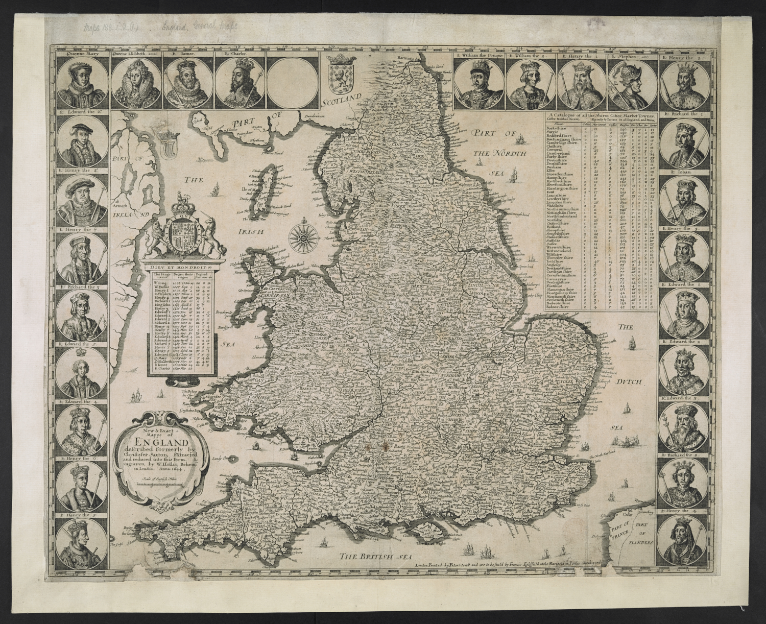 Wenceslaus Hollar's map of England of 1644 adapted from Christopher Saxton's
