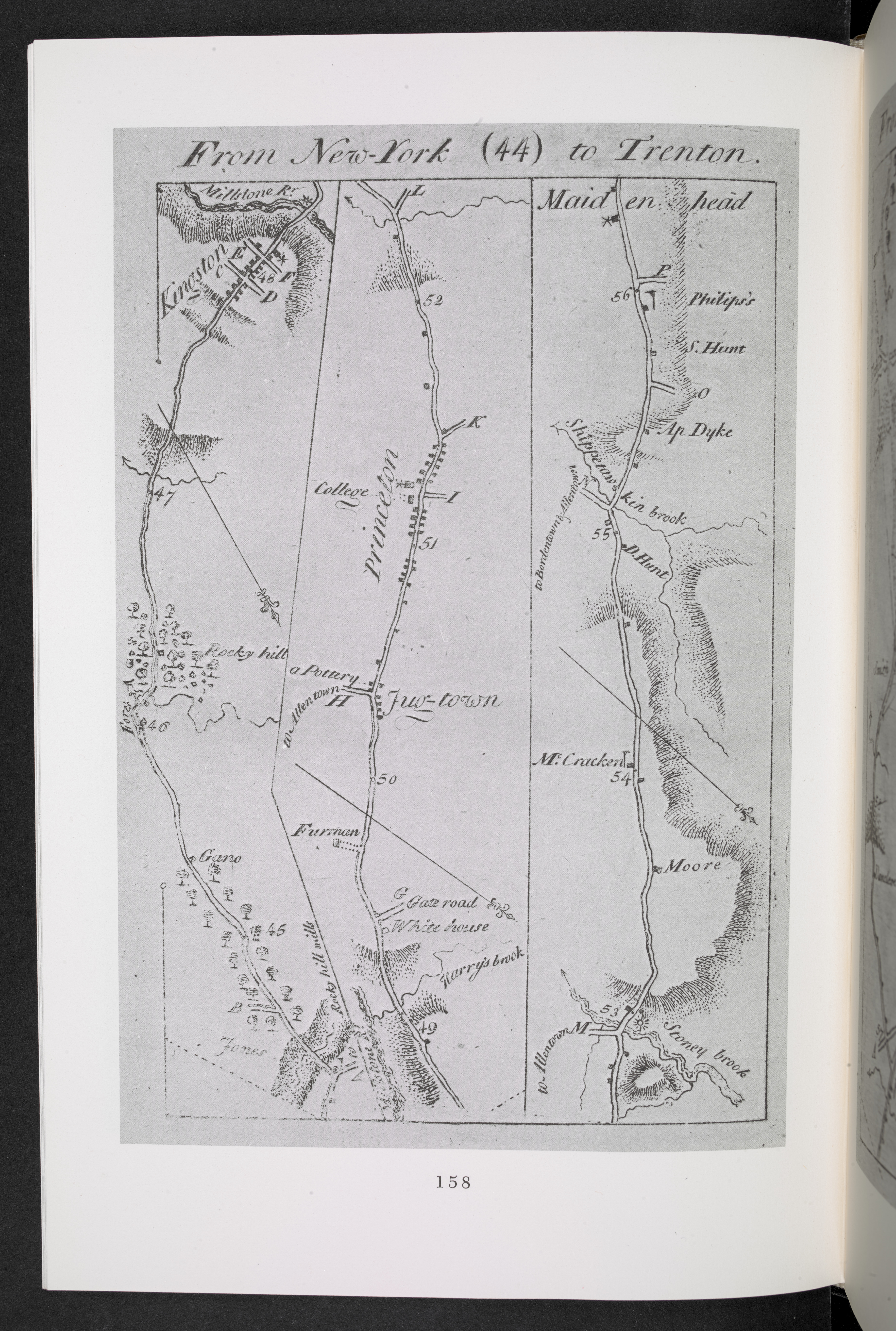 Facsimile of Christopher Colles' map of the road from New York City to Trenton in New Jersey (1789)