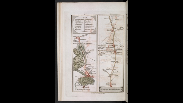 John Cary's map of routes and inns from Colnbrook in Bershire to Maidenhead through Windsor Great Park