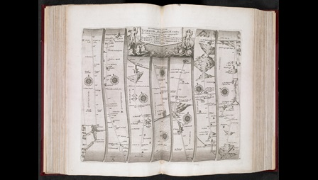 John Ogilby's map showing roads from London to Flamboroughead in Yorkshire, published in Ogilby's Britannia (1675)