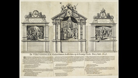 A peace pageant, engraved by Pieter Nolpe after stage scenes designed by Samuel Coster.