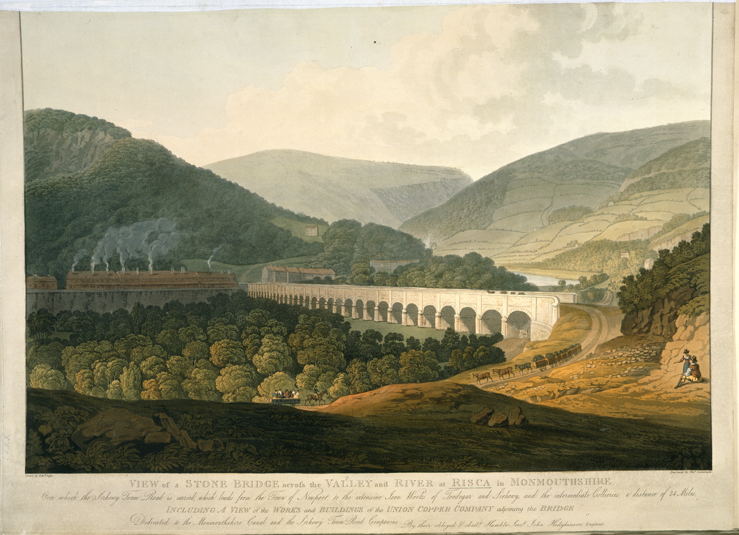 View of a Stone Bridge across the Valley and River at Risca in Monmouthshire after Edward Pugh