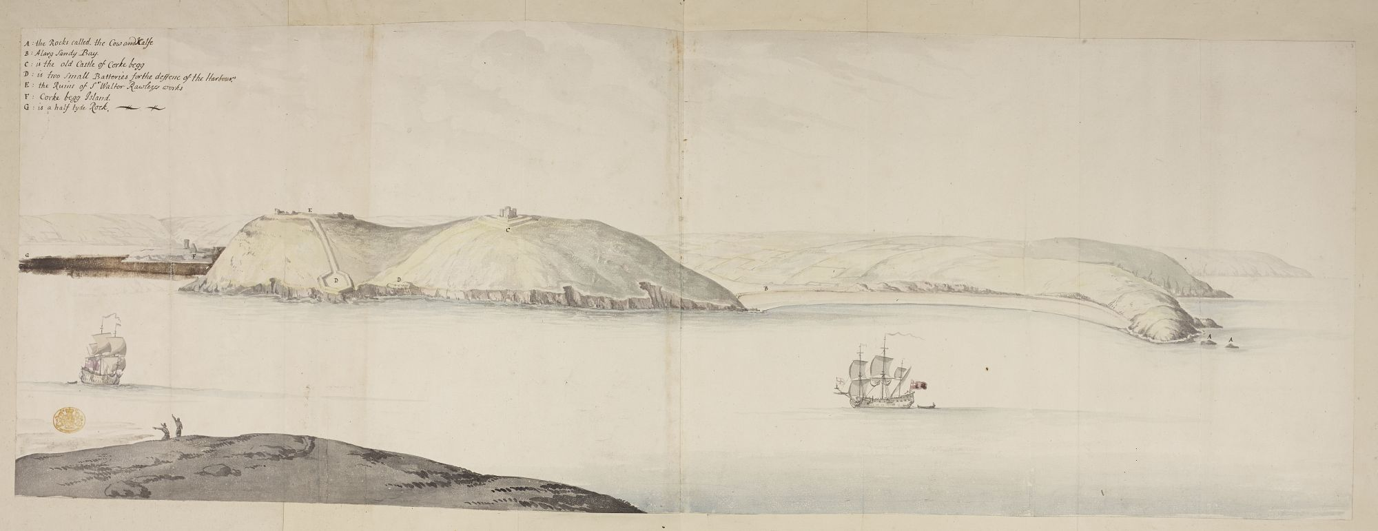 West Entrance of Cork Harbour, from the Kidds, by Thomas Phillips.